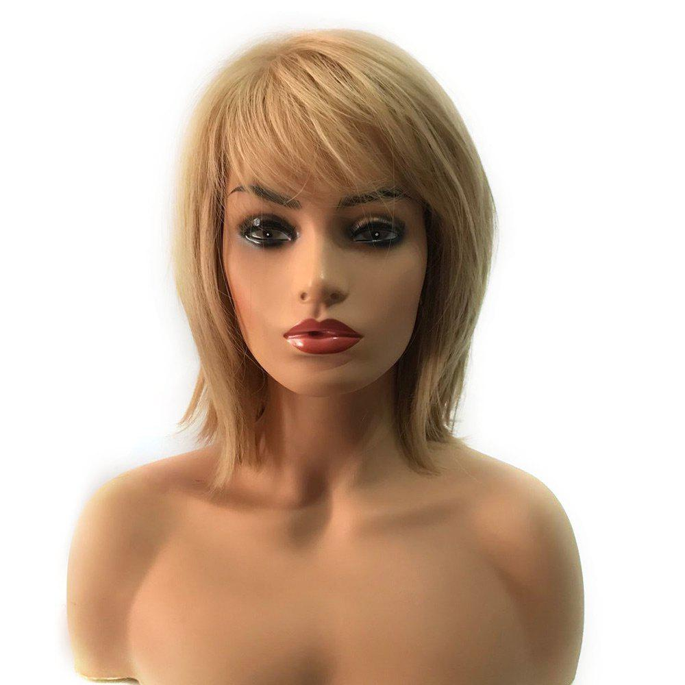 Short Side Bang Straight Capless Heat Resistant Synthetic Wig - GOLDEN