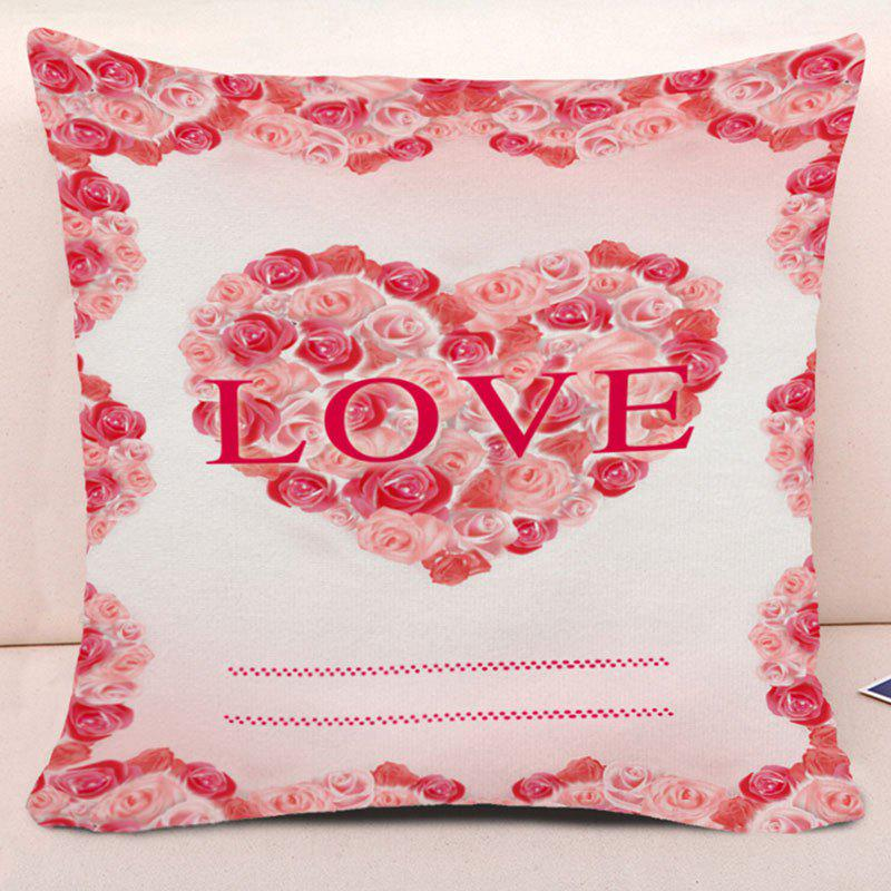 Valentine's Day Roses Love Heart Print Pillow Case - PINK W17.5 INCH * L17.5 INCH