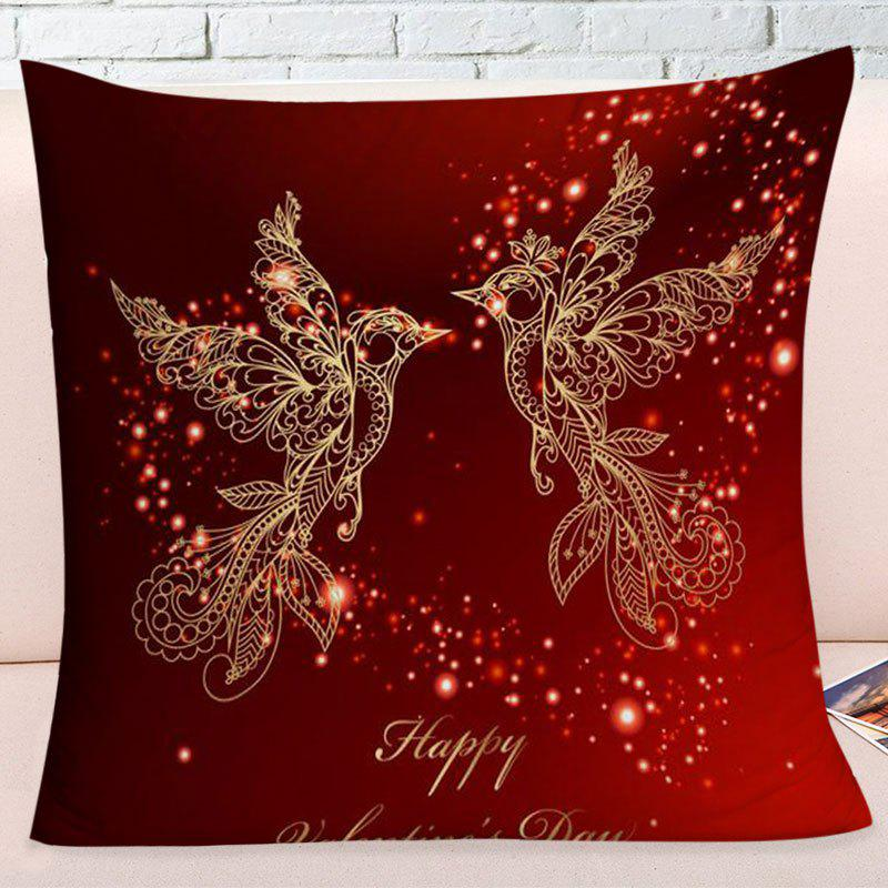 Valentine's Day Abstract Love Heart Birds Print Pillowcase - DARK RED W17.5 INCH * L17.5 INCH