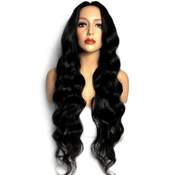 Long Middle Parting Loose Wave Synthetic Wig - BLACK