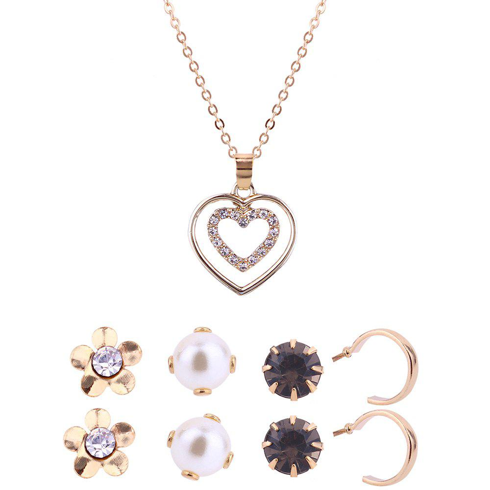 Heart Shape Pendant Necklace and Stud Earrings Set - GOLDEN