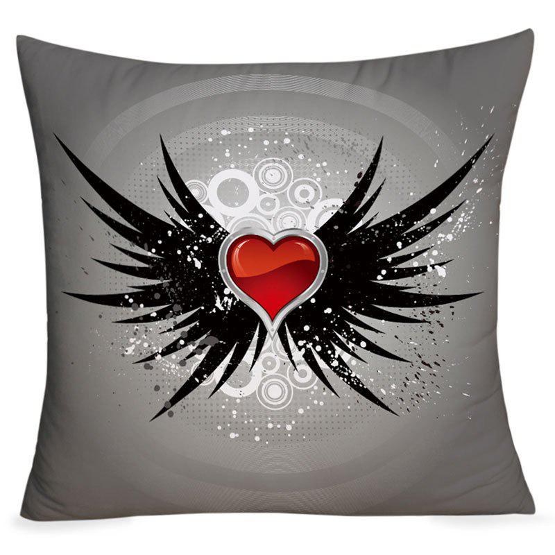 Valentine's Day Heart with Wings Pattern Throw Pillowcase - DEEP GRAY W18 INCH * L18 INCH