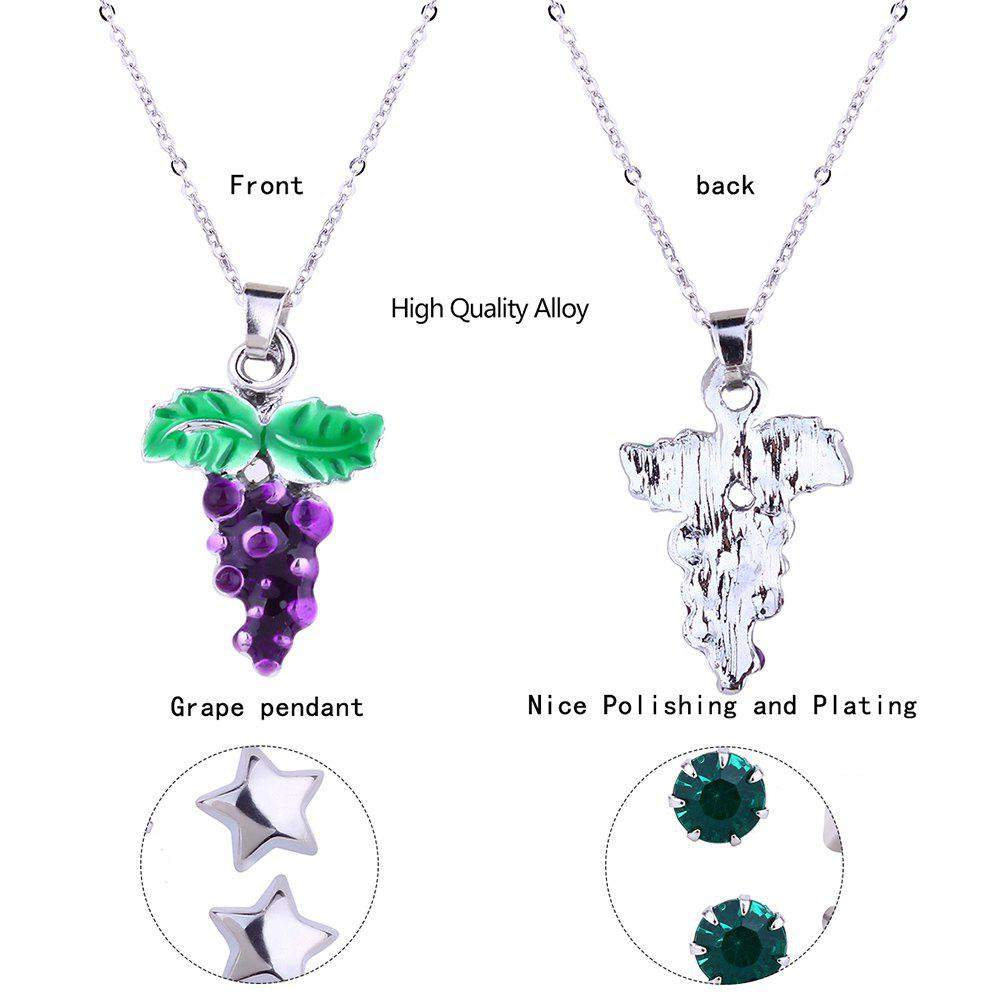 Metal Grape Pendant Necklace and Earrings Set - SILVER
