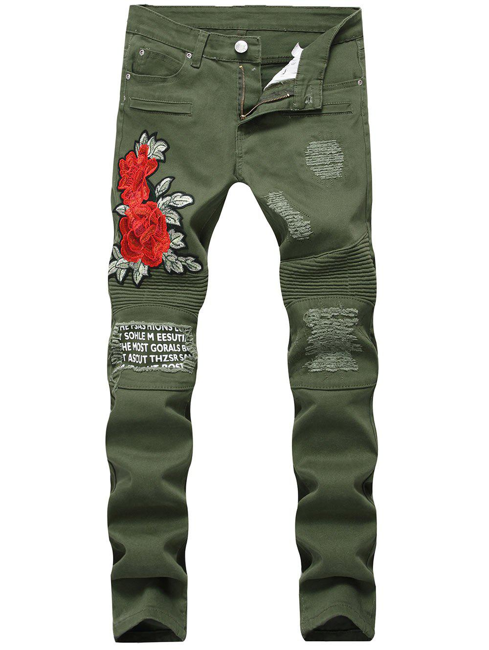 Graphic Print Flower Embroidery Skinny Jeans - ARMY GREEN 32
