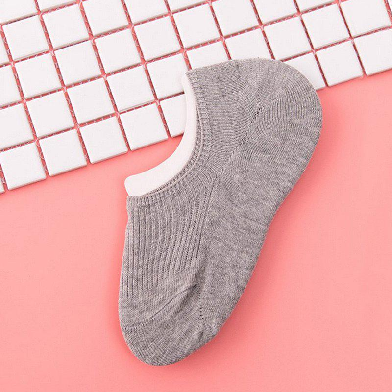 Pair of  Solid Color Crochet Knitted Ankle Socks - GRAY