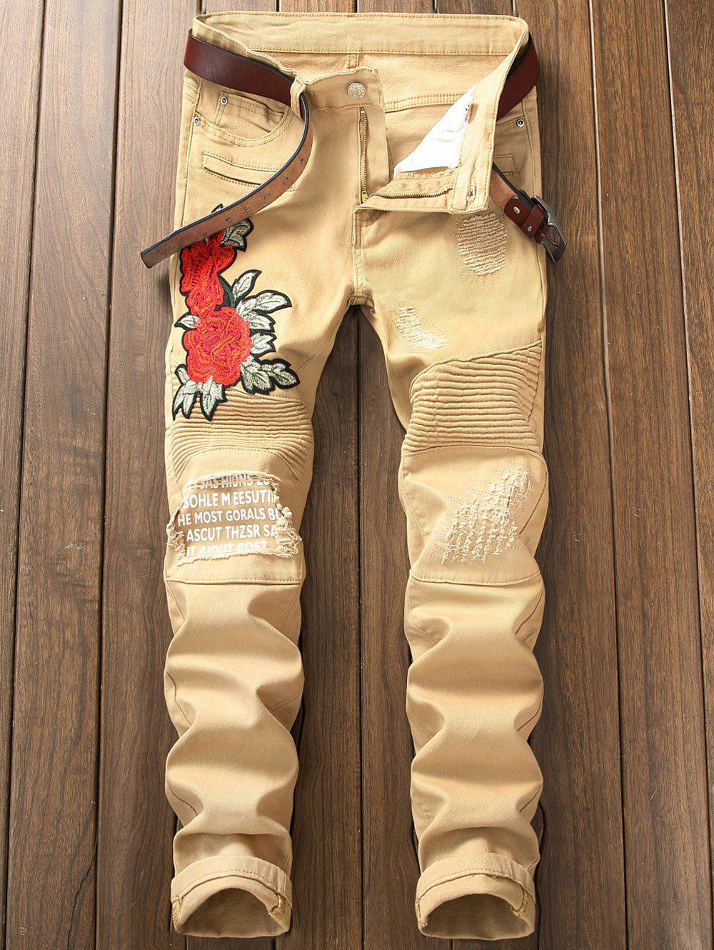 Skinny Flower Embroidery Distressed Jeans - KHAKI 34