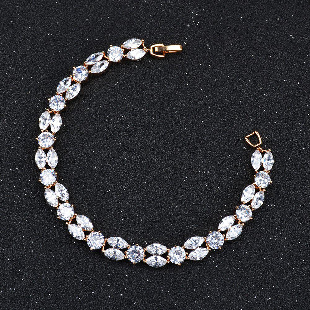 Sparkly Rhinestoned Link Chain Bracelet - GOLDEN