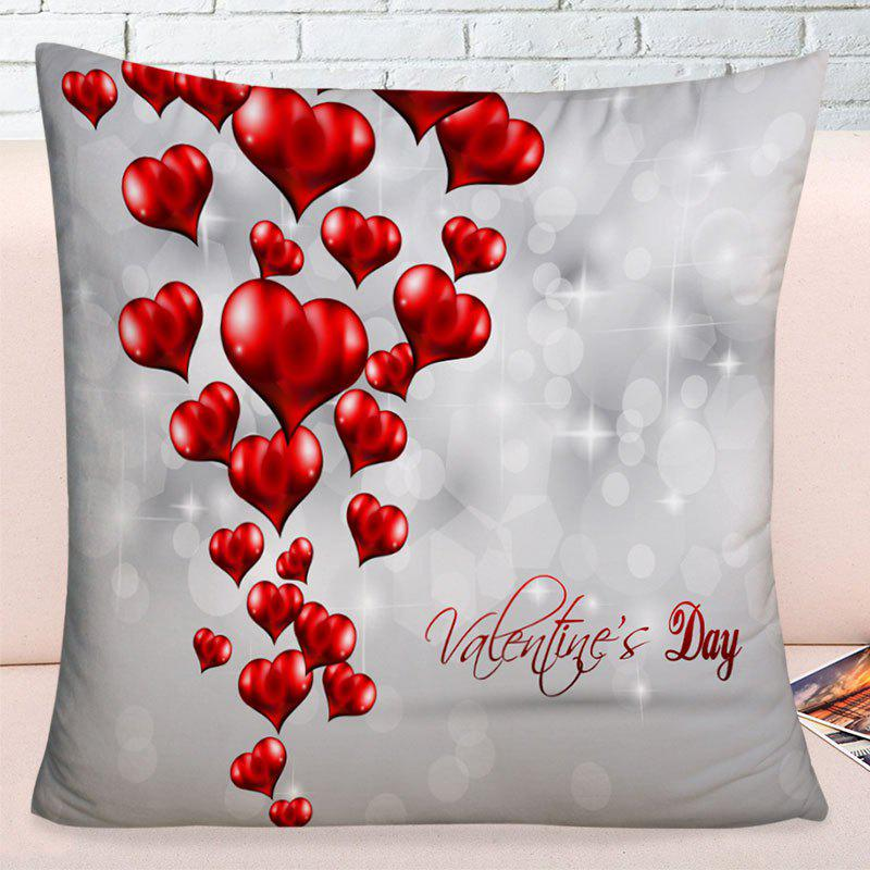 Valentine's Day Love Hearts Printed Throw Pillow Case - GRAY W17.5 INCH * L17.5 INCH