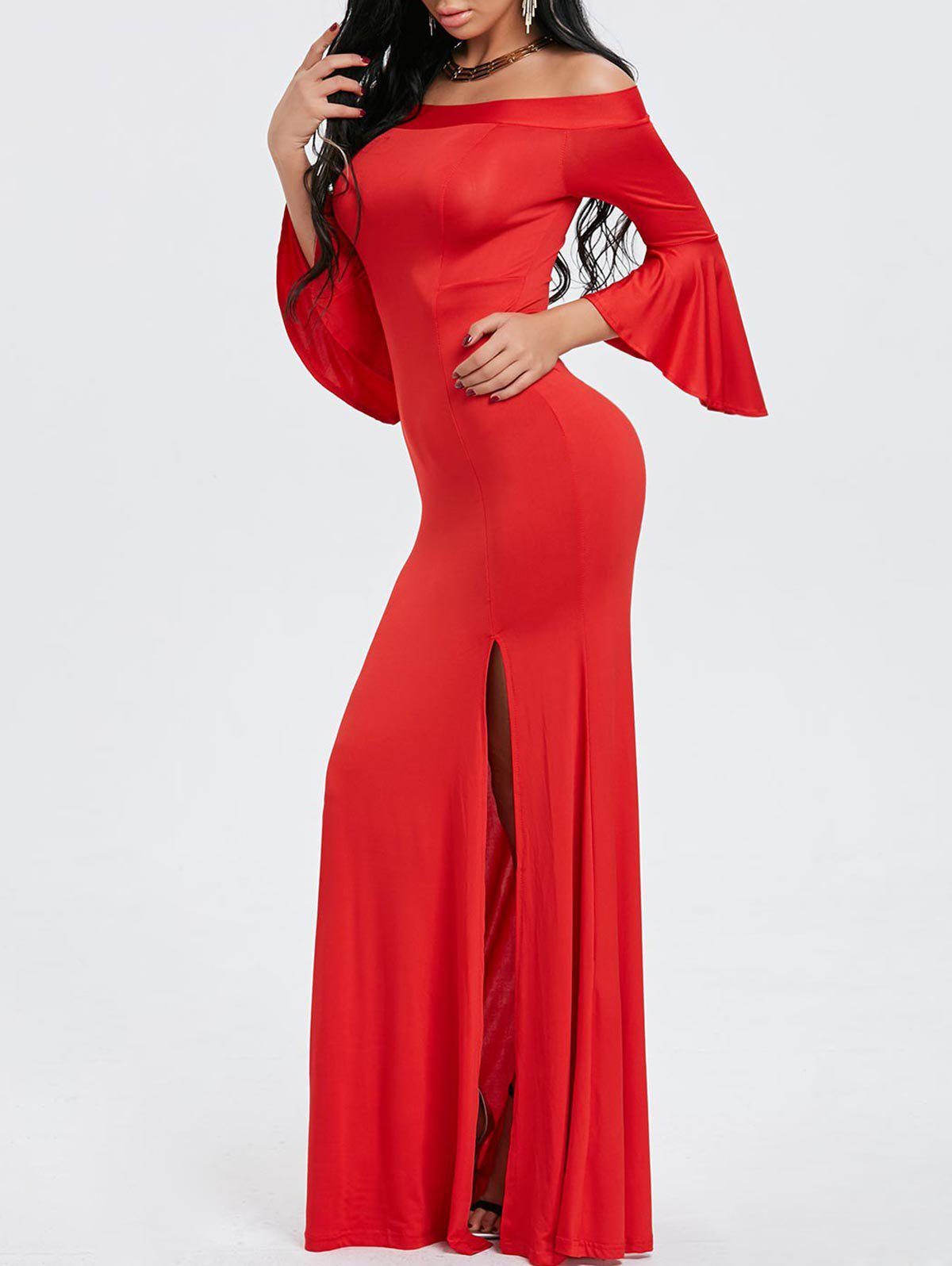 Off Shoulder Wedding Prom Dress - RED M