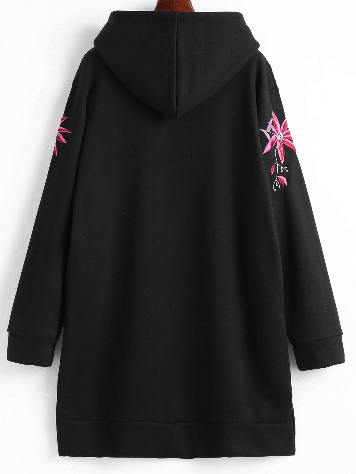 Plus Size Fleece Lined Embroidered Hoodie Dress - BLACK 3XL