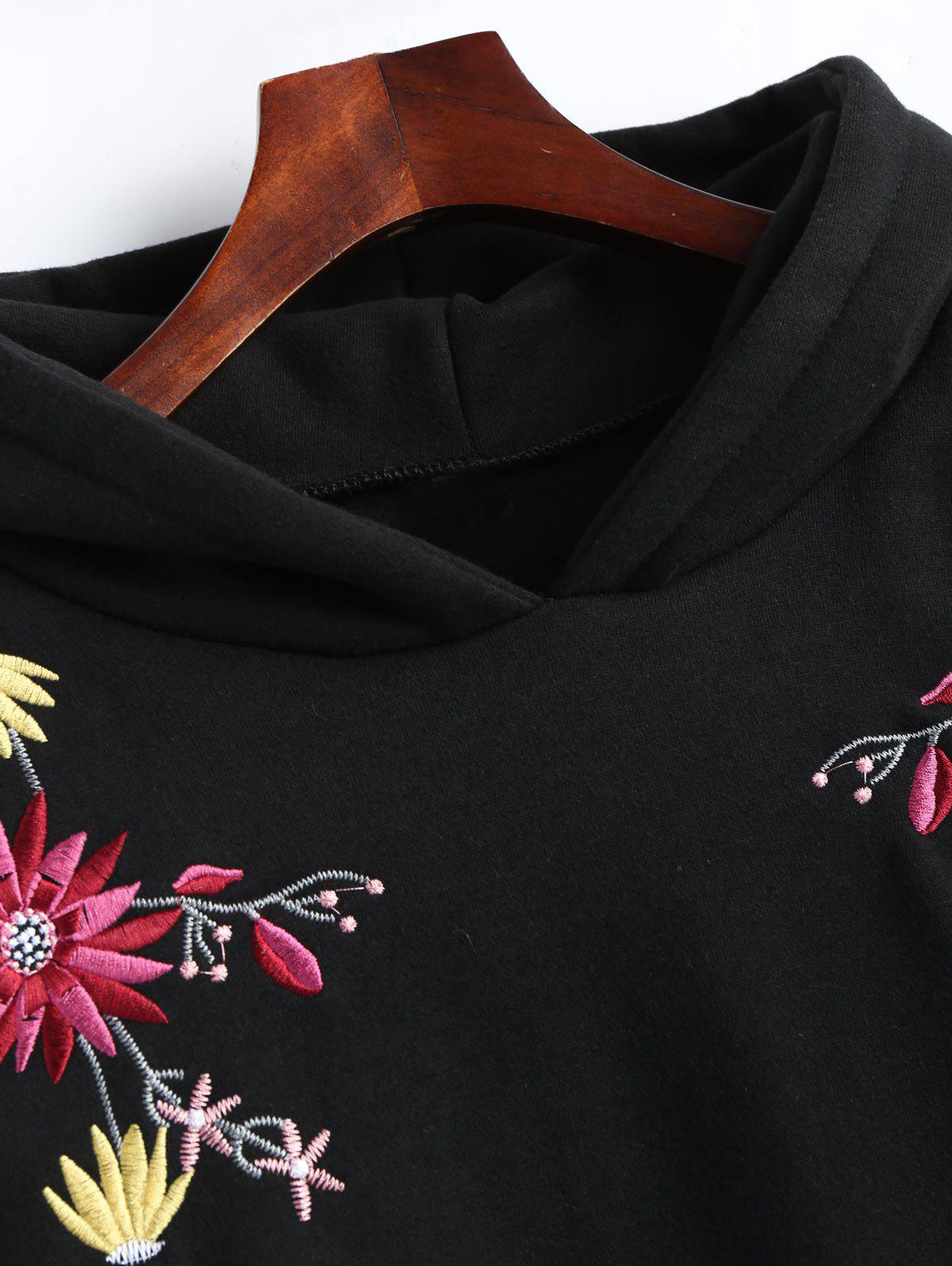 Plus Size Fleece Lined Embroidered Hoodie Dress - BLACK 5XL