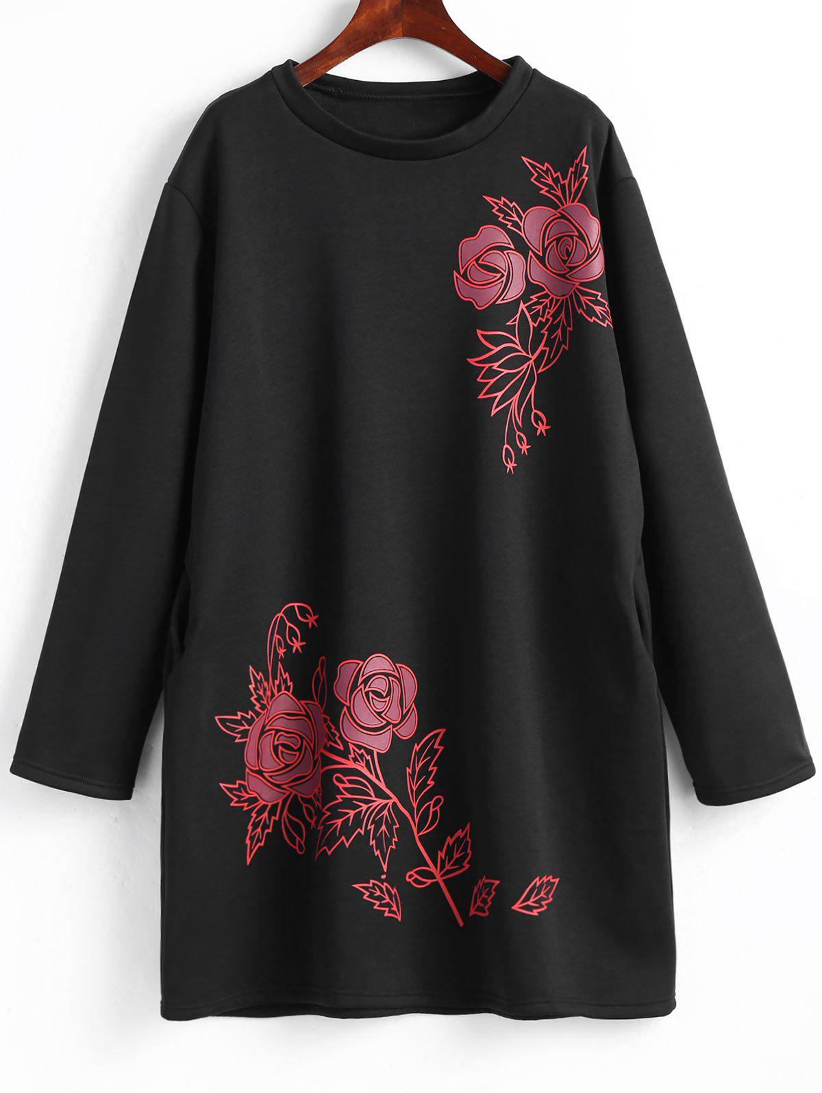 Floral Fleece Lined Plus Size Sweatshirt Dress - BLACK 3XL