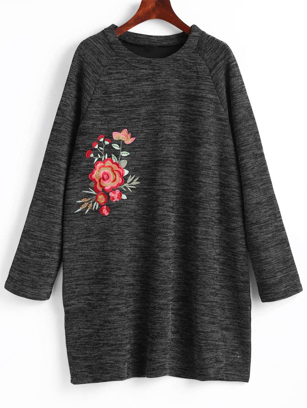 Plus Size Floral Embroidered Mini Sweatshirt Dress - DEEP GRAY 5XL