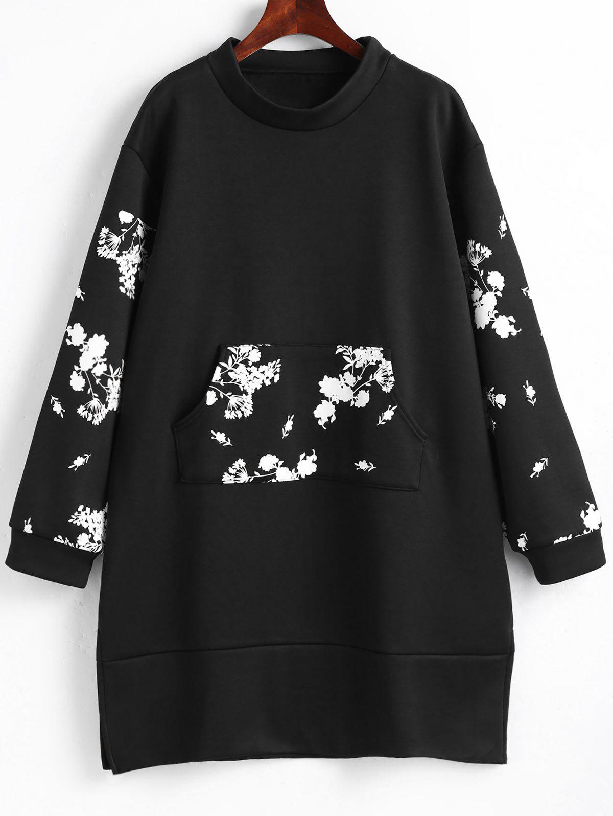 Floral Front Pocket Plus Size Sweatshirt Dress - BLACK 4XL