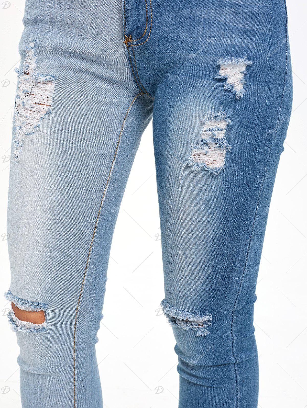 Color Block Ripped High Waisted Jeans - DENIM BLUE XL