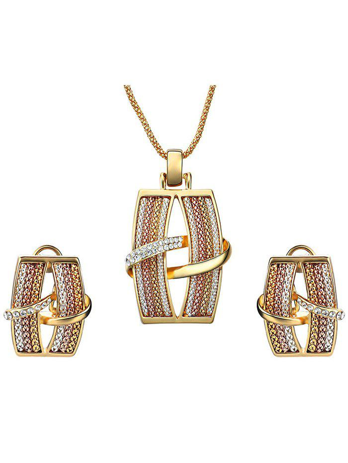 Simple Alloy Rhinestone Geometric Jewelry Set - GOLDEN