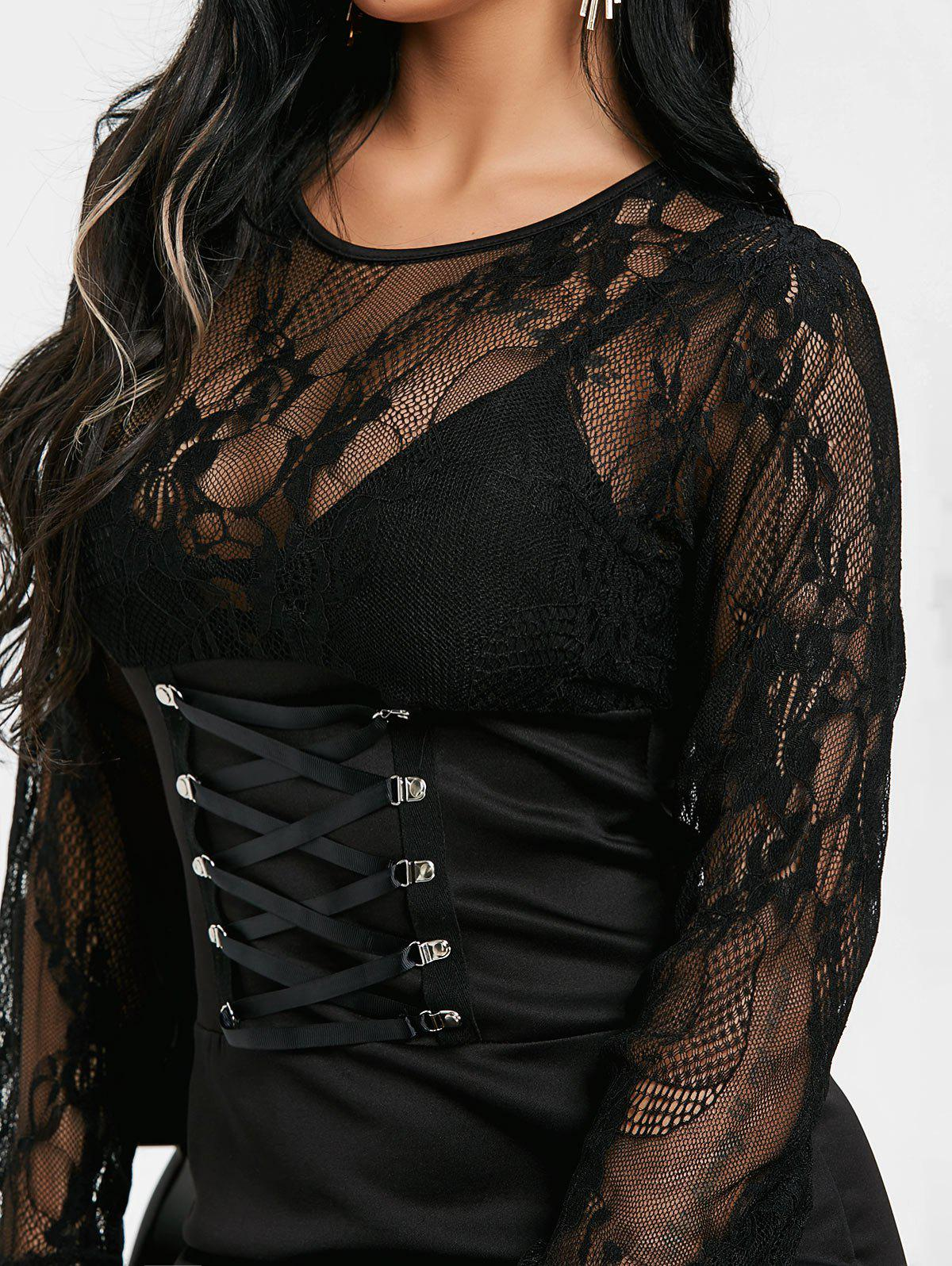 See Through Lace Insert Bodycon Mini Dress - BLACK L