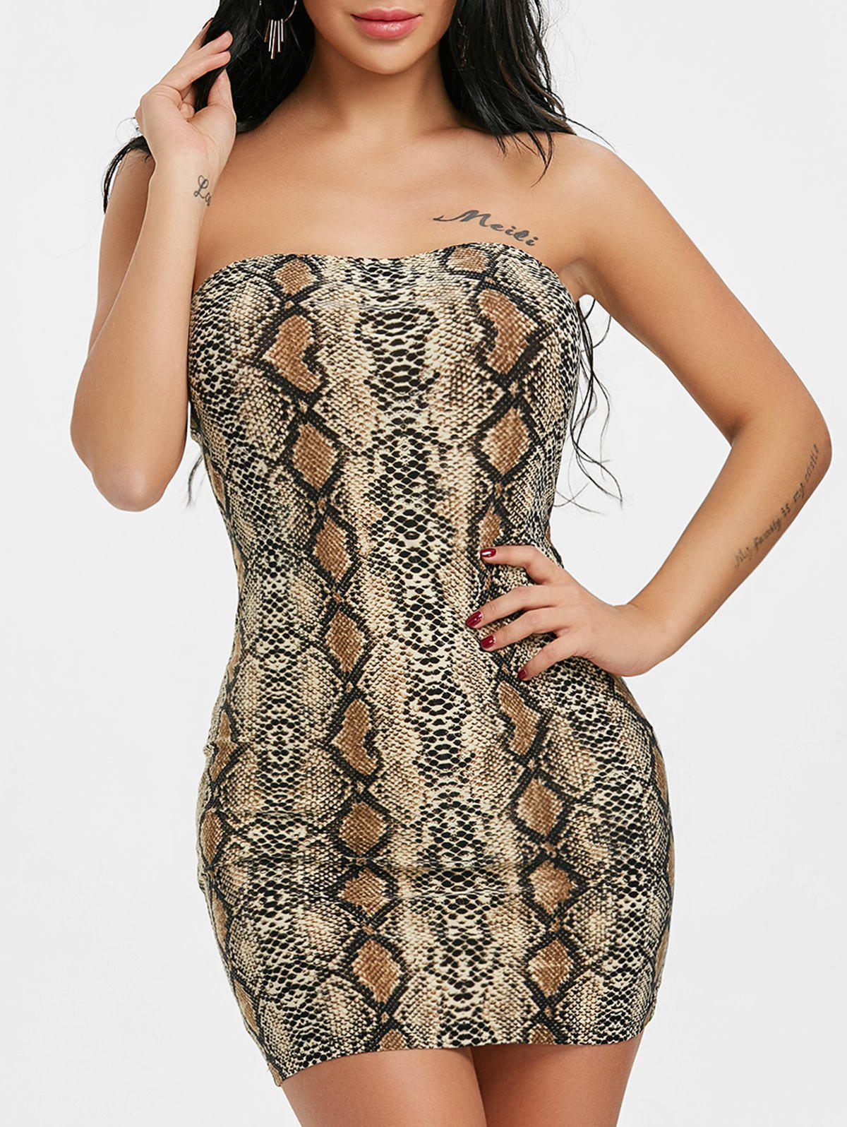 Snake Print Tube Bodycon Dress - multicolor M