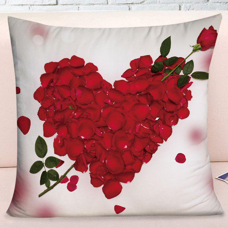 Valentine's Day Rose Petals Heart Pattern Pillow Case - RED/WHITE W17.5 INCH * L17.5 INCH