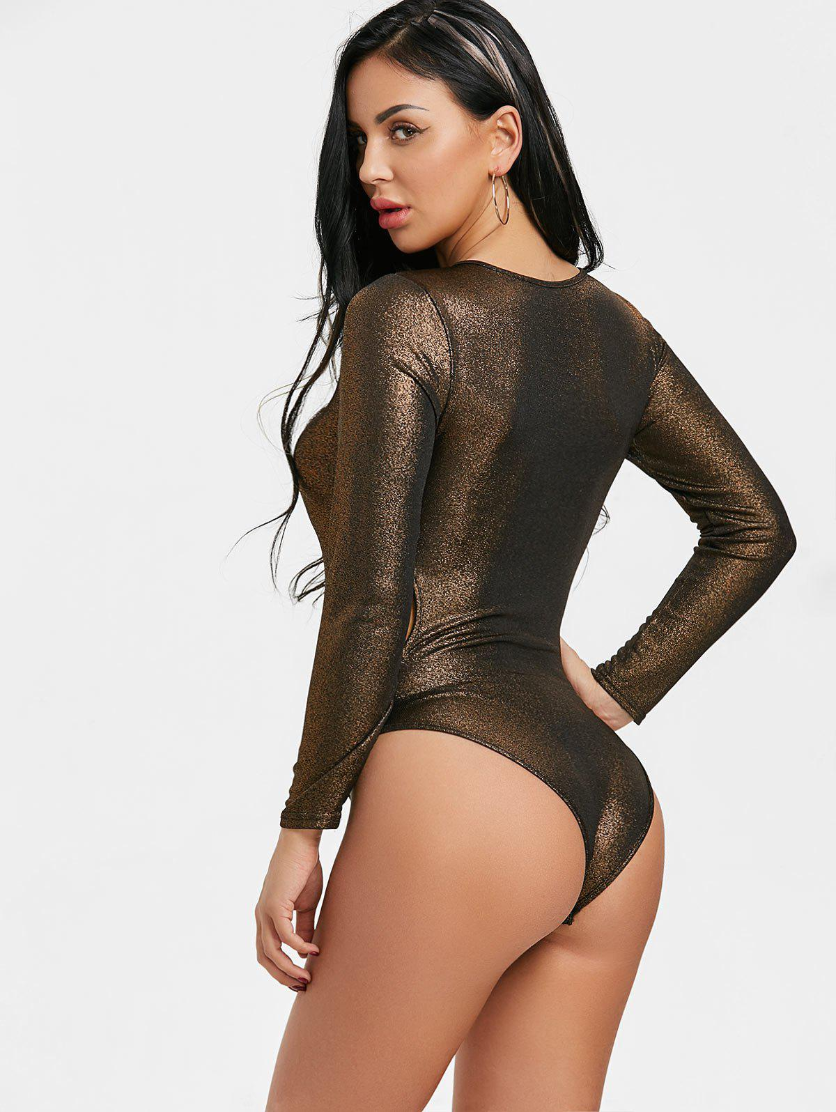 Long Sleeve Cut Out Shimmer Bodysuit - GOLDEN L