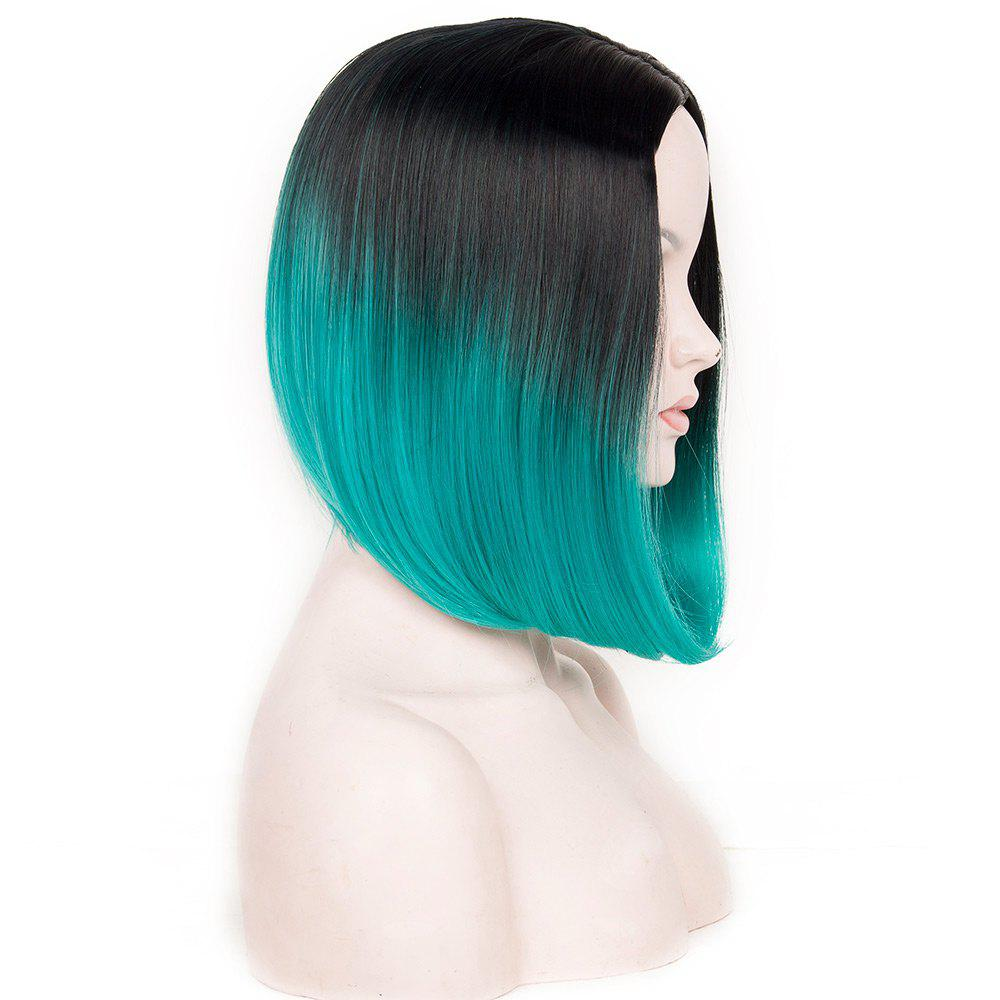 Medium Ombre Center Parting Straight Bob Synthetic Wig - BLACK/GREEN