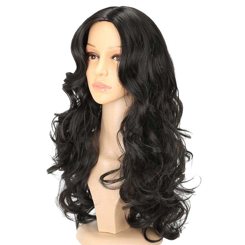 Long Center Parting Capless Wavy Synthetic Wig - JET BLACK 24INCH