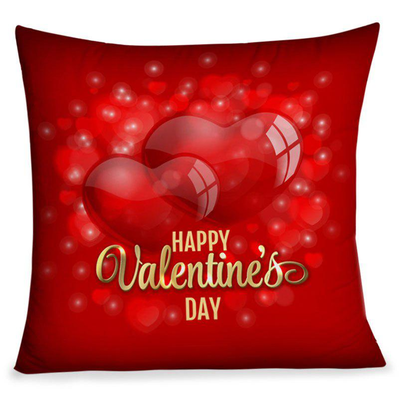 Happy Valentine's Day Hearts Pattern Square Pillow Case - RED W18 INCH * L18 INCH