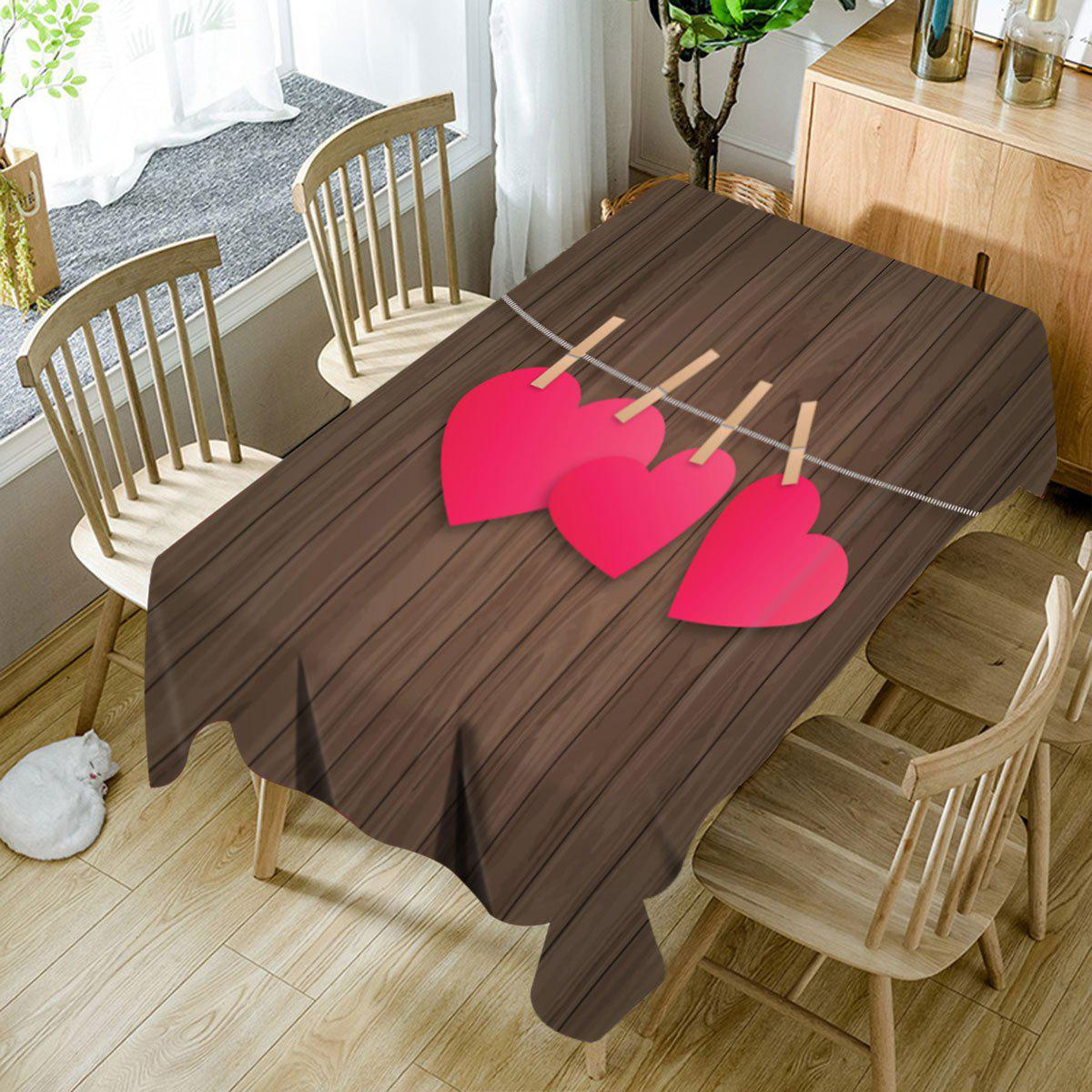 Heart and Wood Grain Printed Waterproof Table Cloth - COLORFUL W60 INCH * L84 INCH