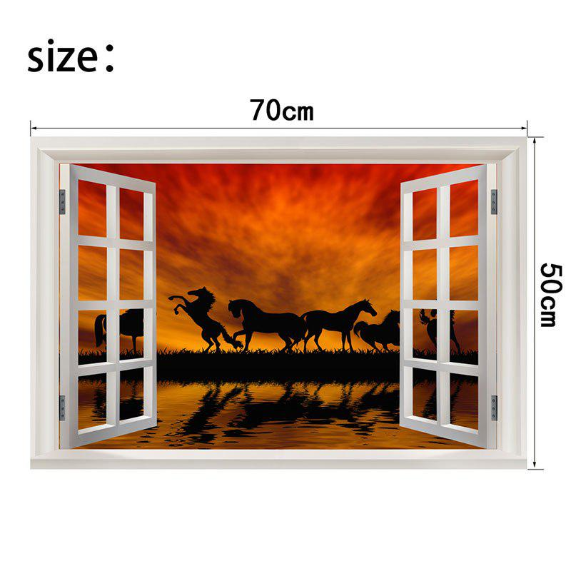 Horse In The Sunset Removable Window View Wall Sticker - COLORFUL W20 INCH * L27.5 INCH