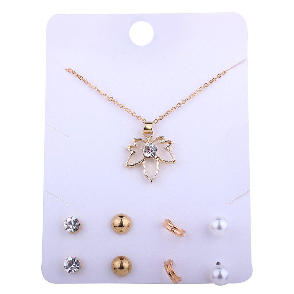 Faux Jewelry Maple Leaf Necklace and Stud Earrings Set - GOLDEN