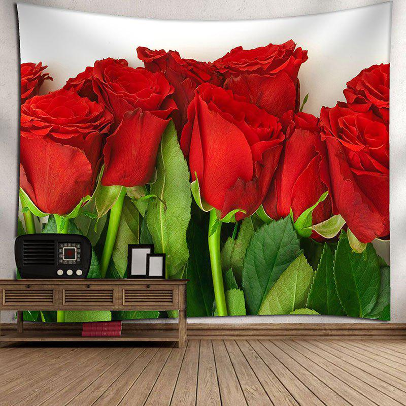 Valentine's Day Wall Hanging Rose Flowers Pattern Tapestry - COLORMIX W91 INCH * L71 INCH