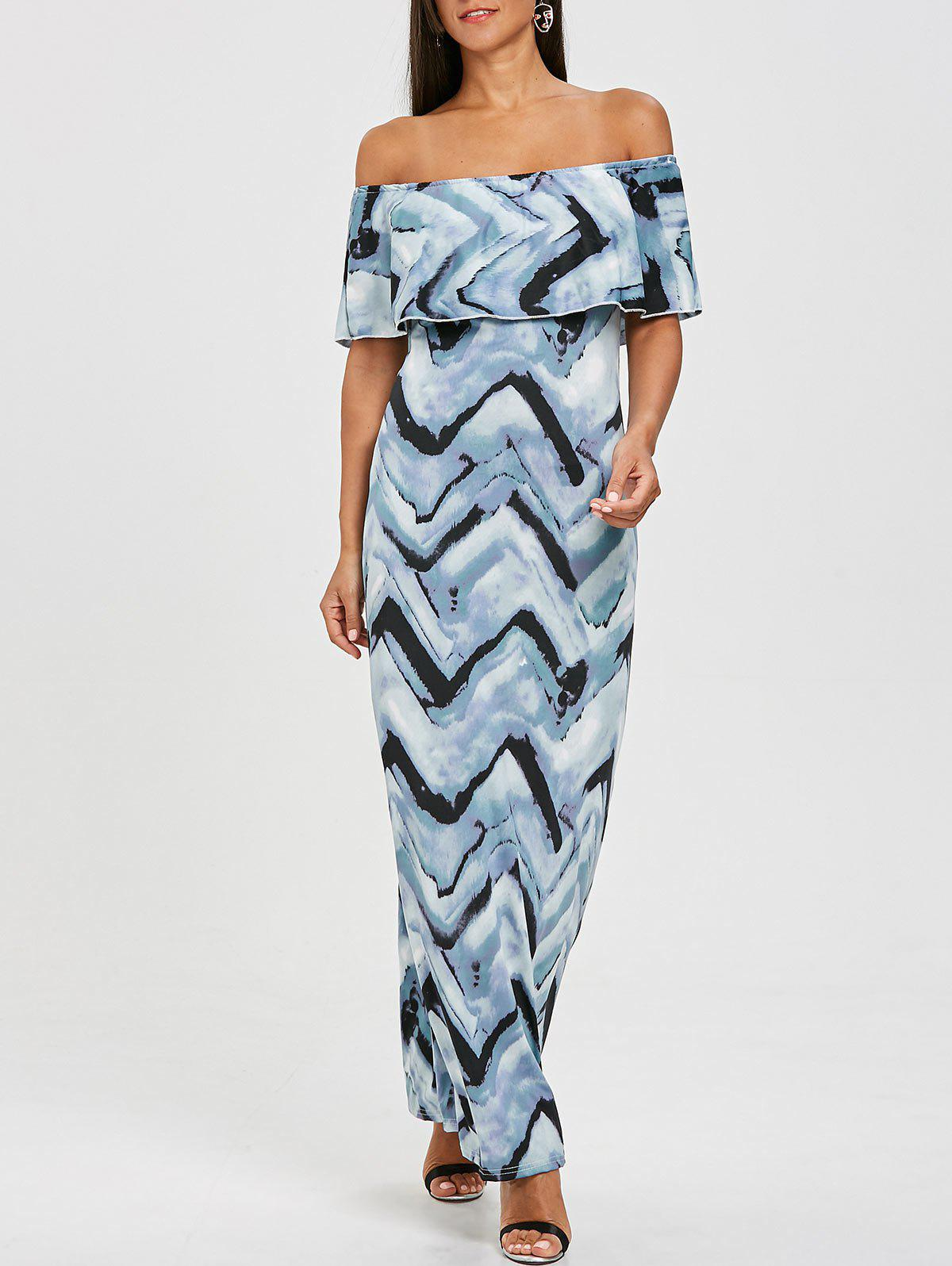 Ruffle Zigzag Off The Shoulder Maxi Dress - COLORMIX 2XL
