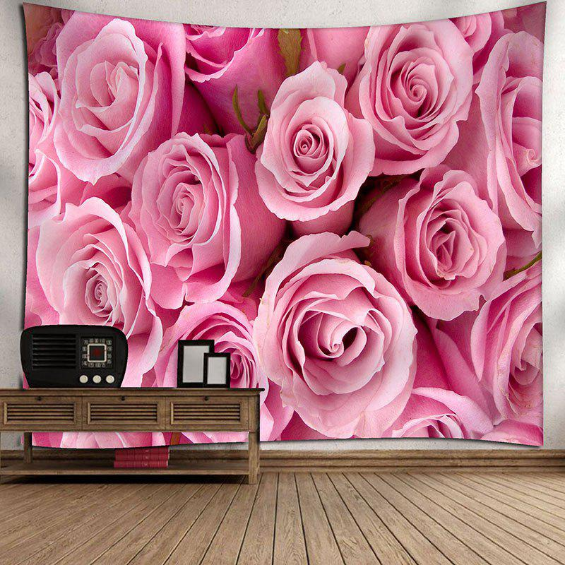 Wall Hanging Valentine's Day Rose Flowers Print Tapestry - PINK W79 INCH * L59 INCH