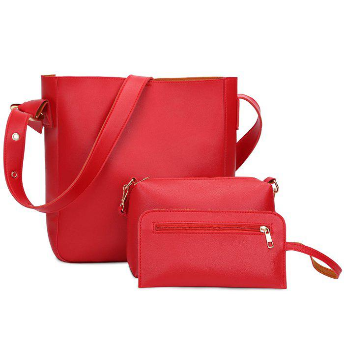 PU Leather 3 Pieces Shoulder Bag Set - RED