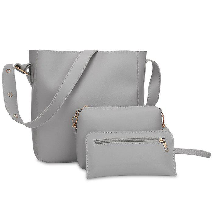 PU Leather 3 Pieces Shoulder Bag Set - GRAY