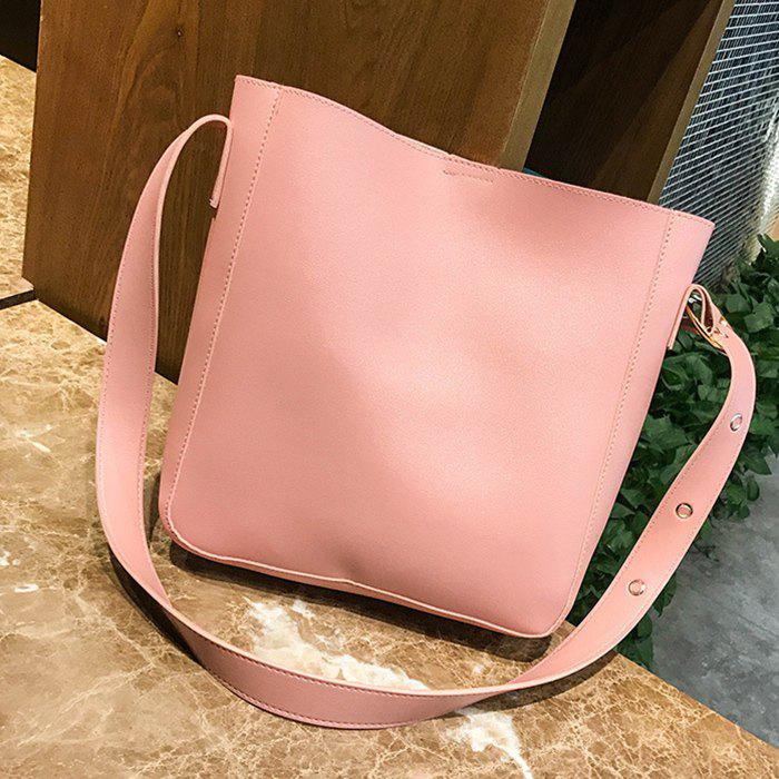PU Leather 3 Pieces Shoulder Bag Set - PINK
