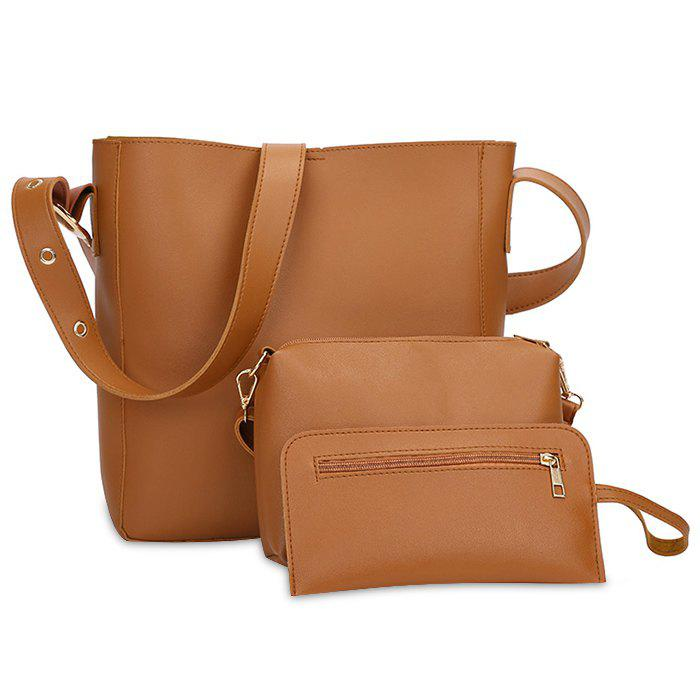 PU Leather 3 Pieces Shoulder Bag Set - BROWN