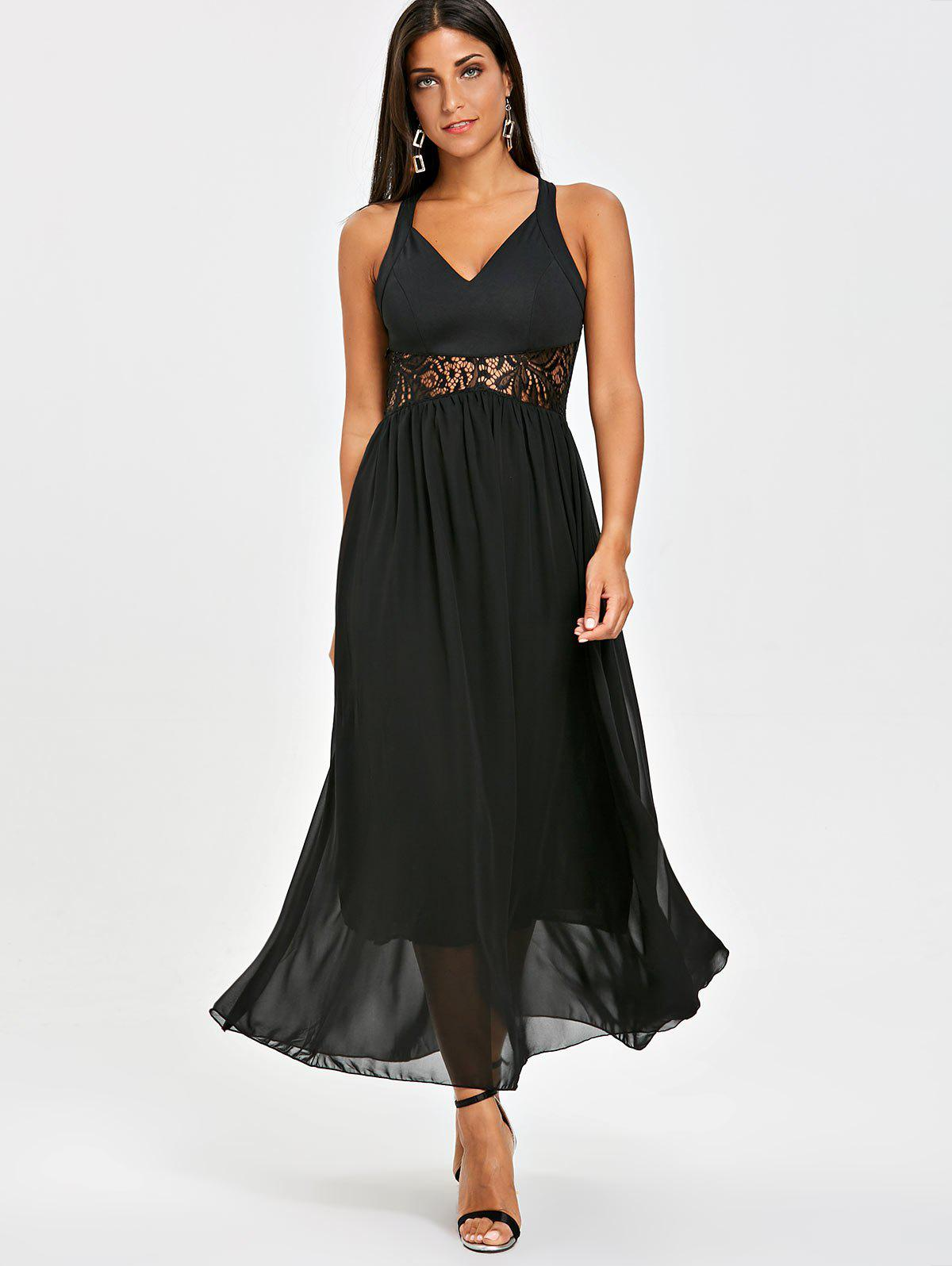 Lace Insert Maxi Chiffon Dress - BLACK L