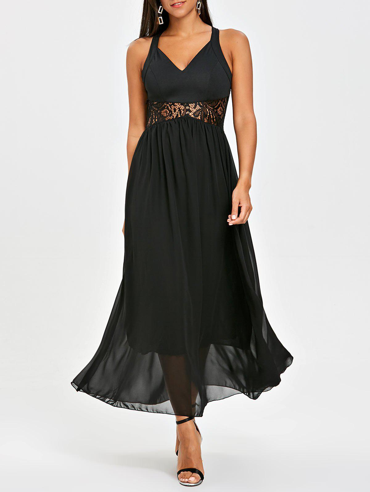 Chiffon Lace Panel Maxi Dress lace panel chiffon maxi evening engagement prom dress