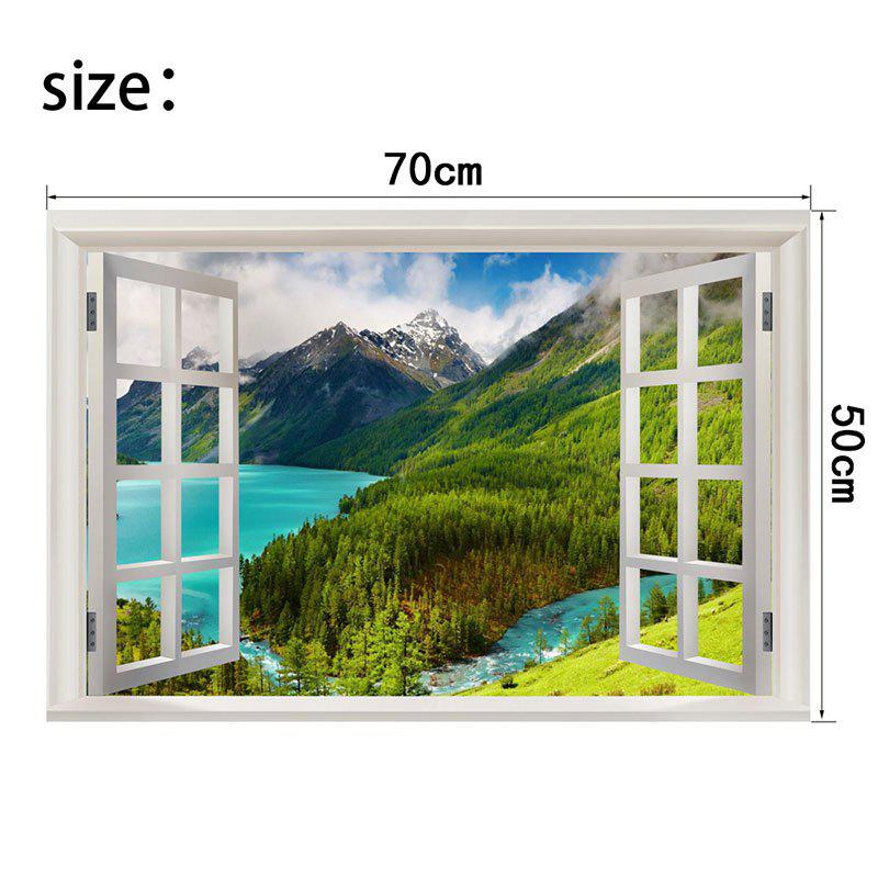 Mountain and River Scenery Prattern Window View Removable Wall Sticker - GREEN W20 INCH * L27.5 INCH
