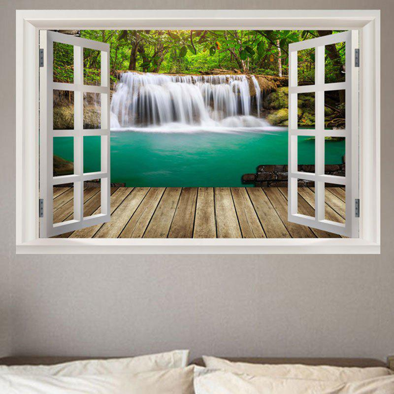 Nature Forest Waterfall Scenery Faux Window Frame Pattern Removable Wall Sticker - GREEN W20 INCH * L27.5 INCH
