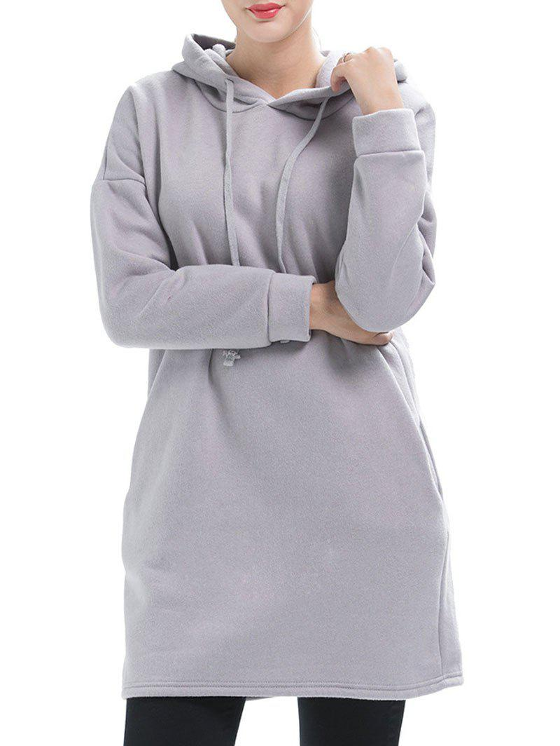Drop Shoulder Pullover Tunic Hoodie - LIGHT GRAY L