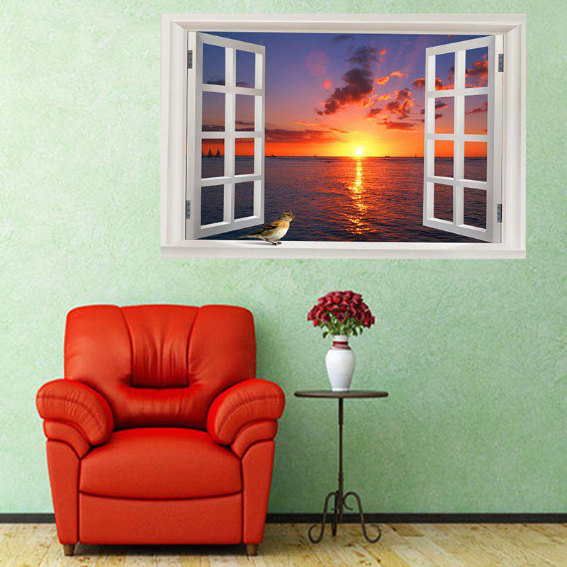 Seaside Sunset Removable Window View Wall Sticker - COLORFUL W20 INCH * L27.5 INCH