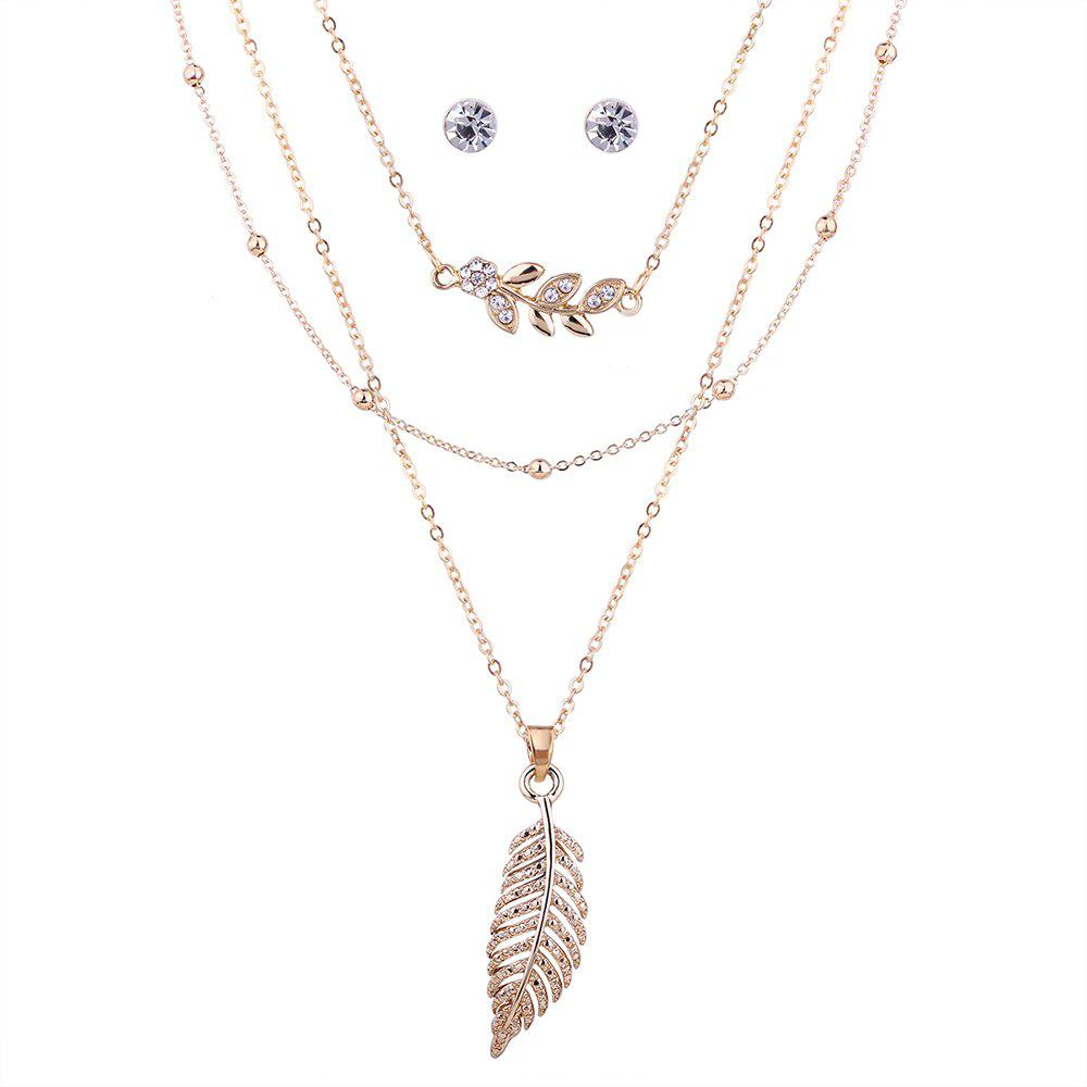 Rhinestoned Leaf Necklace with Earring Set - GOLDEN