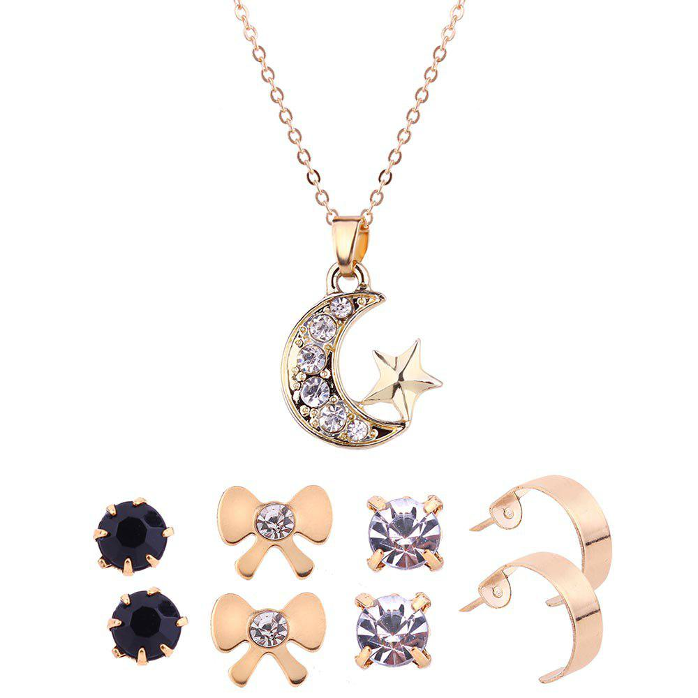 Rhinestone Moon Star Necklace and Earring Set moon flac jeans