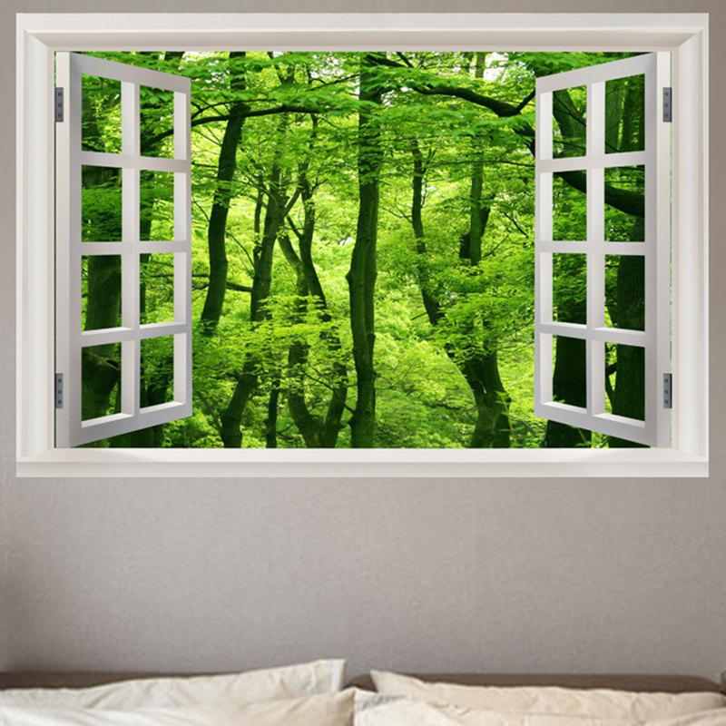 Window Forest Pattern 3D Wall Art Sticker flower bridge river pattern 3d wall art sticker