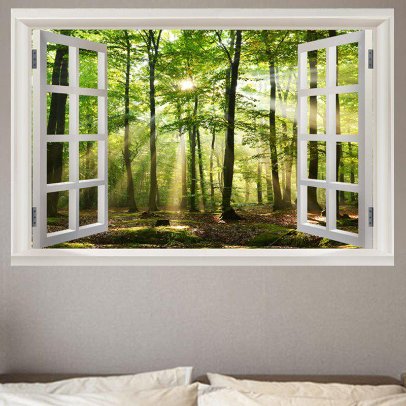 Sunshine Forest Removable Window View Wall Sticker horse in the sunset window view removable wall sticker