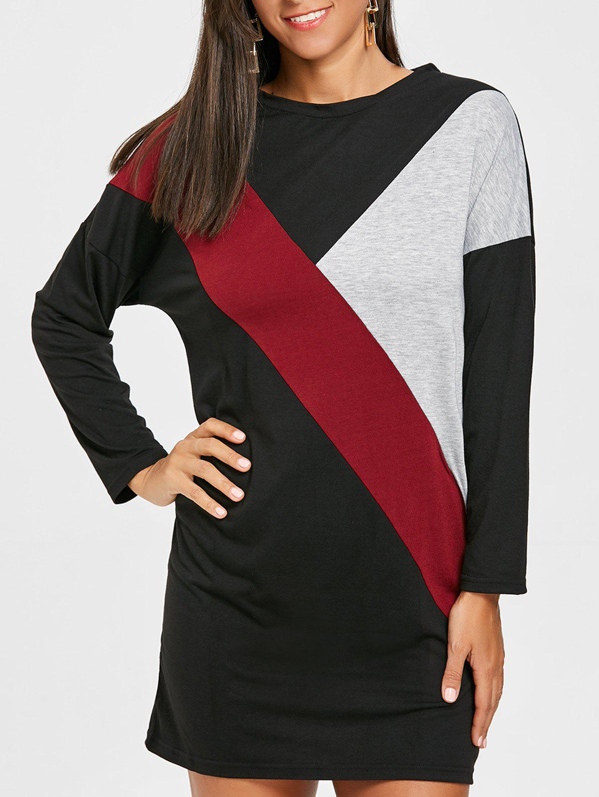 Long Sleeve Color Block Mini T-shirt Dress - BLACK XL