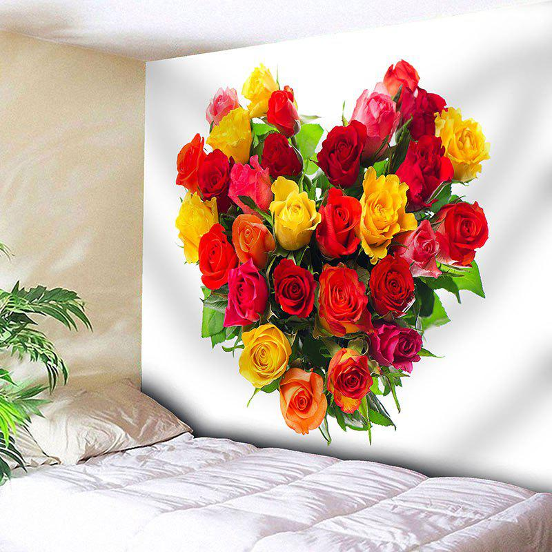 Valentine's Day Roses Heart Print Wall Hanging Tapestry valentine s day heart starlight print tapestry wall hanging decoration