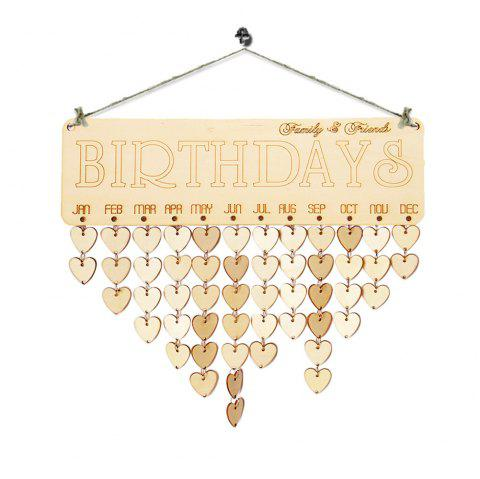 Family And Friends Birthdays Reminder DIY Wooden Board - HEART